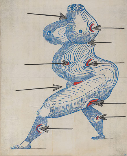 An abstracted headless female figure depicted by blue contour lines with arrows pointing at red spots on various parts of the figure.