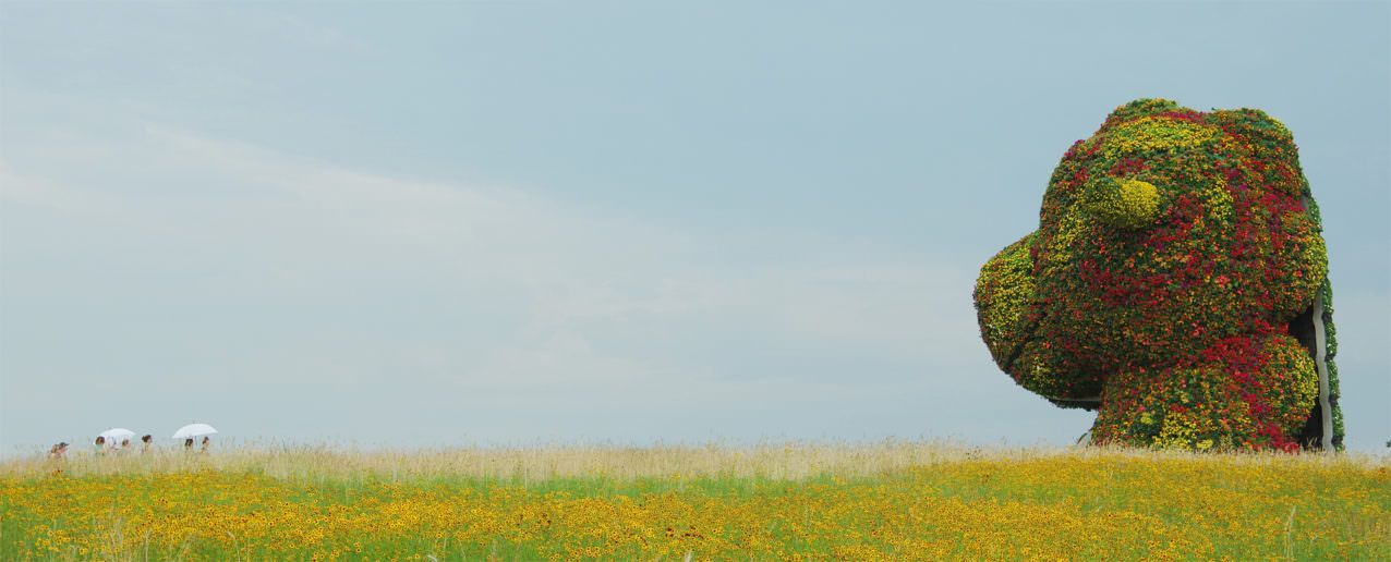 At right, a large, flowering dinosaur head rises over a meadow full of yellow flowers, while at left, a group of people with white umbrellas approaches the giant head.