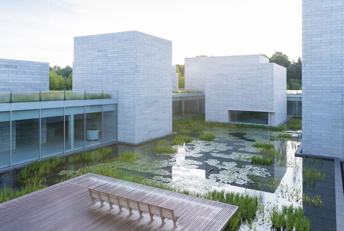 A wooden platform sits on a body of water filled with green plants, surrounded by a glass and concrete building.