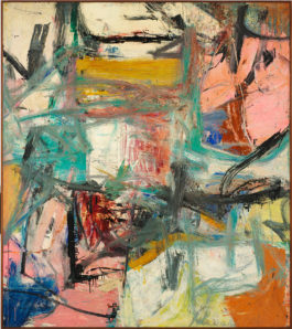 In this painting, loose and expressive brushwork of various colors overlaps and muddies the tones. Lines of blue, yellow, teal, black, and red mix with fields of beige and pink.