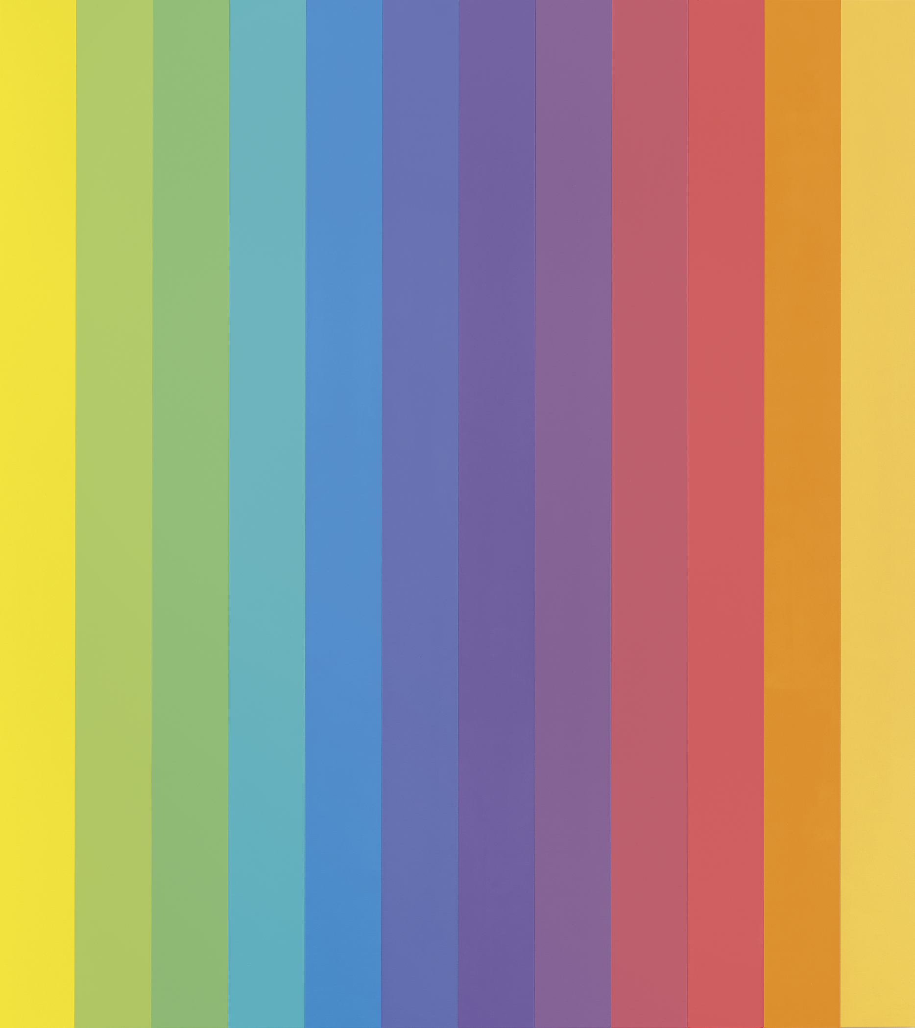 Twelve colorful panels form a painting with incrementally different shades of yellow, green, blue, purple, red, orange, and yellow again.