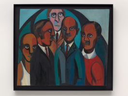 Four African American figures are painted in simple shapes in the foreground. A white man gazes out at the top center.